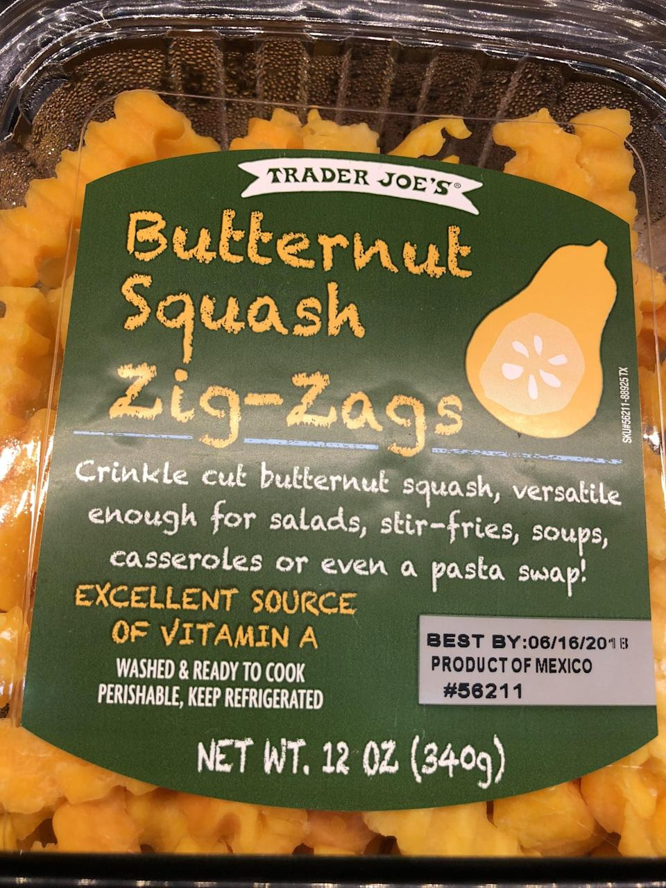 <p>Look for this package in the fridge section by the other veggies. You can sauté this quickly to use in place of pasta.</p>