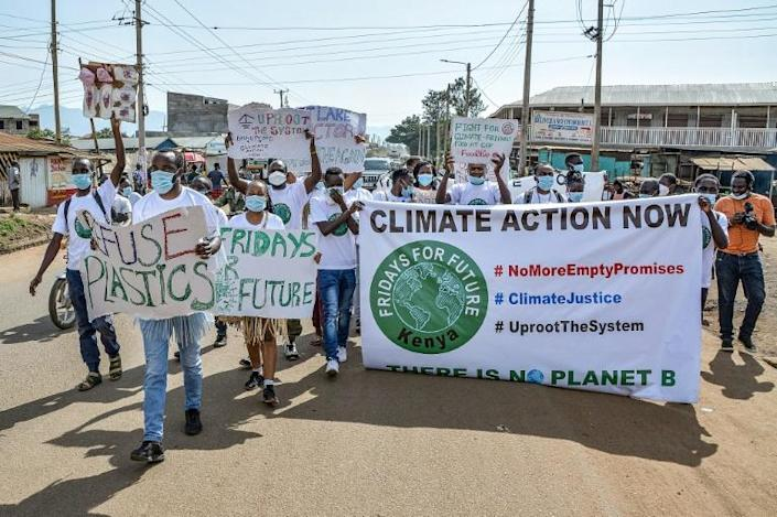Youth activists protest for action on climate change in September 2021 in Kisumu, western Kenya (AFP/Brian Ongoro)