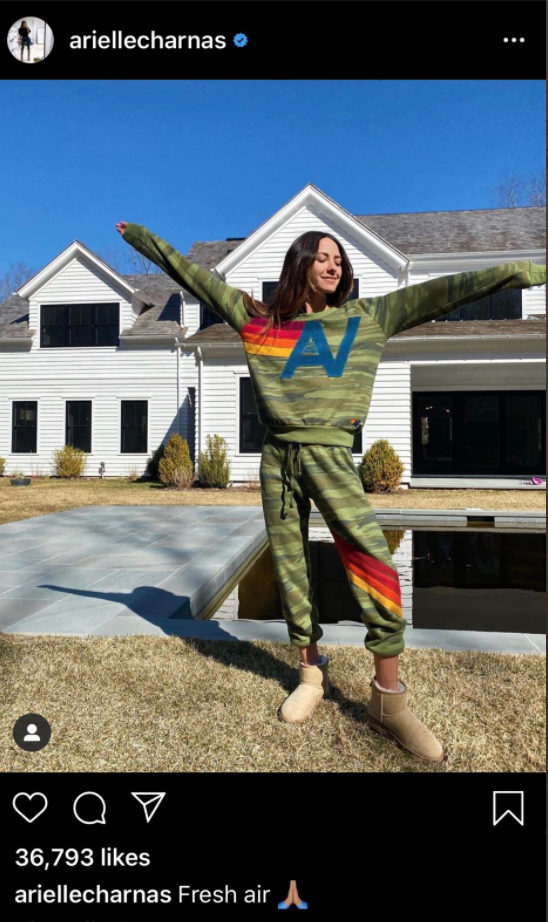 Arielle Charnas shared a photo of herself to Instagram outside of her home in the Hamptons. The post has since been deleted. (Image via Instagram/Twitter).