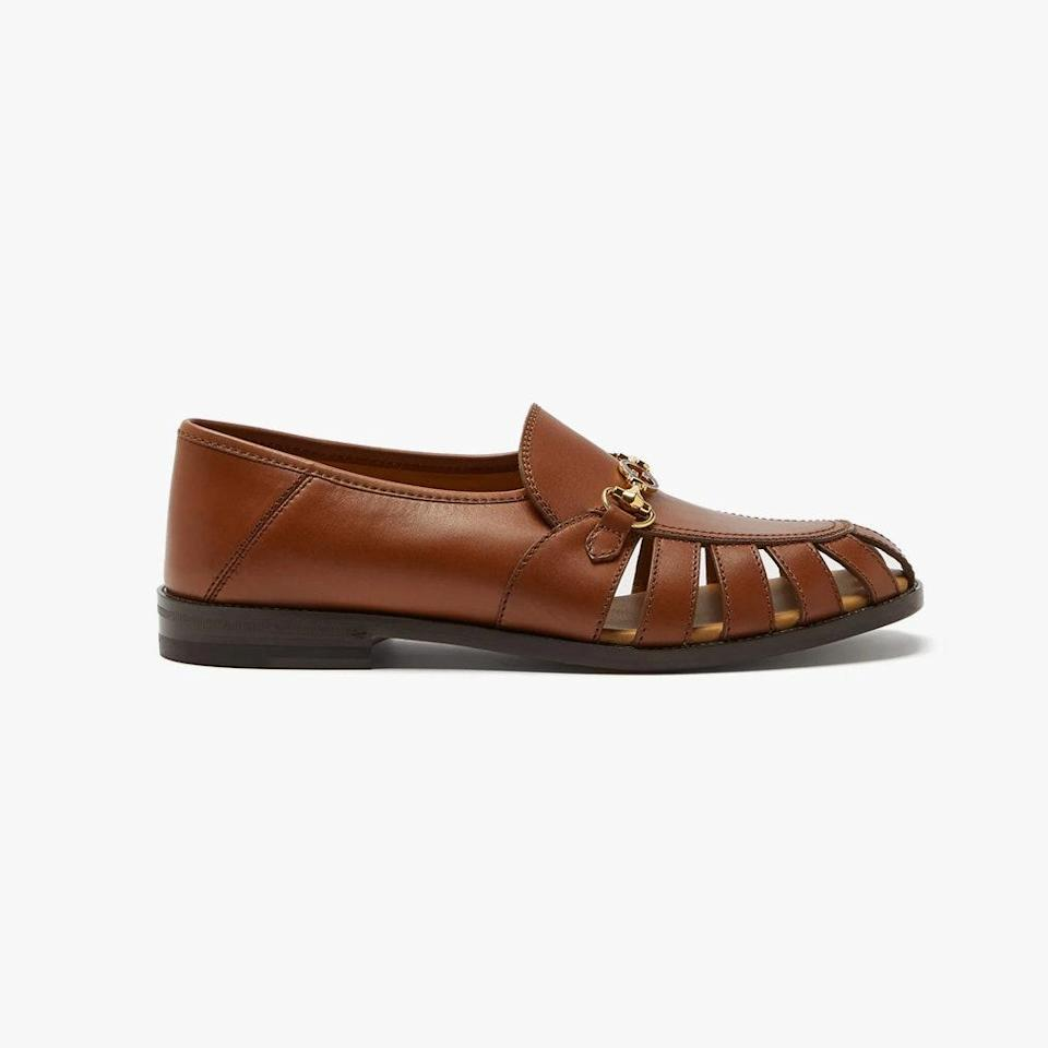 """$950, MATCHESFASHION.COM. <a href=""""https://www.matchesfashion.com/us/products/Gucci-Talete-Horsebit-cutout-leather-loafers-1361003"""" rel=""""nofollow noopener"""" target=""""_blank"""" data-ylk=""""slk:Get it now!"""" class=""""link rapid-noclick-resp"""">Get it now!</a>"""