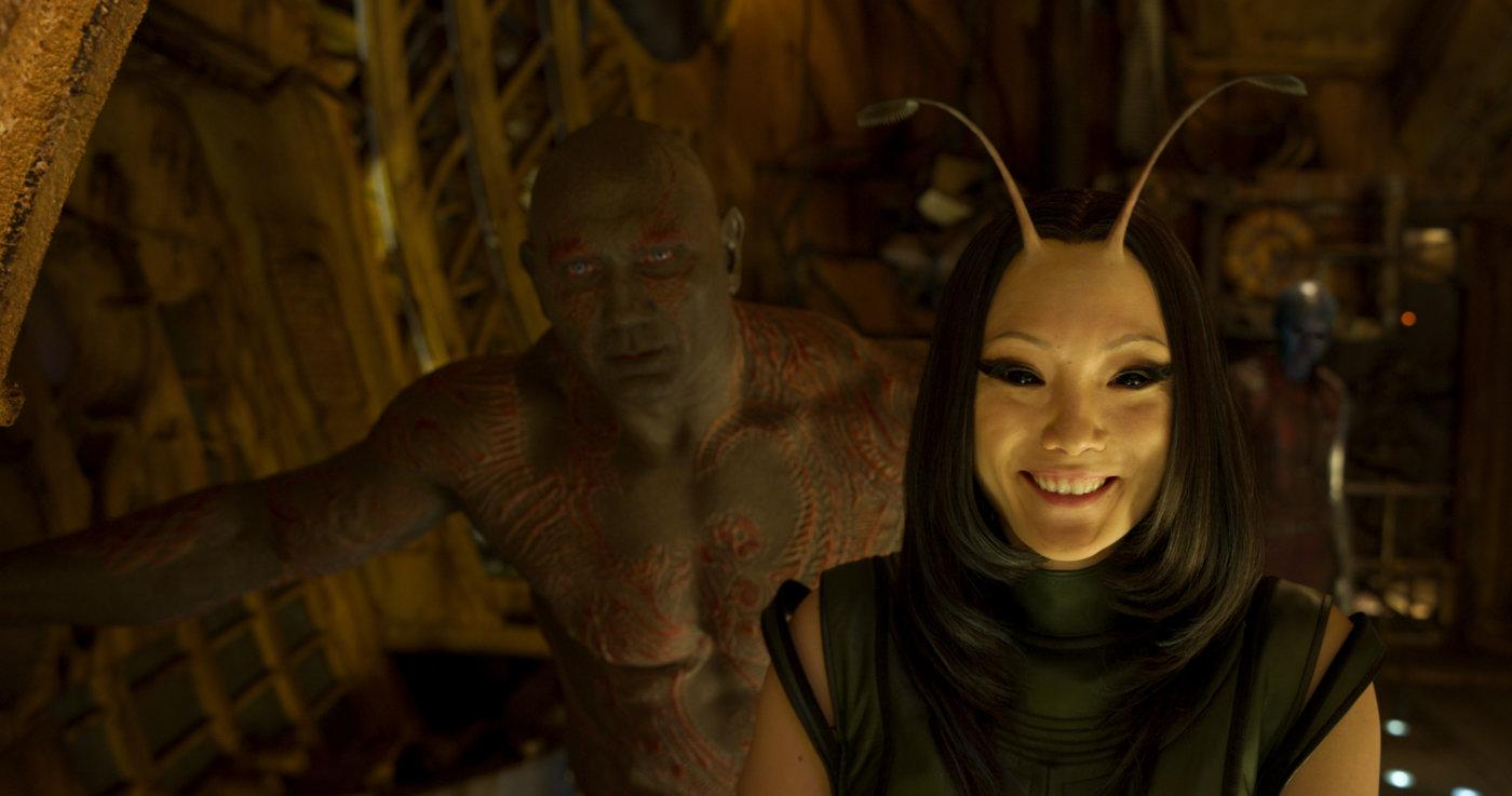 Dave Bautista and Pom Klementieff as Drax and Mantis in GOTG Vol. 2 (Disney)