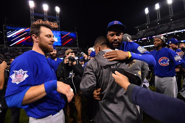 <p>Chicago Cubs outfielder Ben Zobrist (left) and right fielder Jason Heyward celebrate after defeating the Cleveland Indians in game seven of the 2016 World Series at Progressive Field. Mandatory Credit: Ken Blaze-USA TODAY Sports </p>