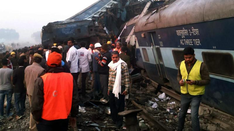 At least 60 people are dead and more than 100 injured after a train derailed in northern India.