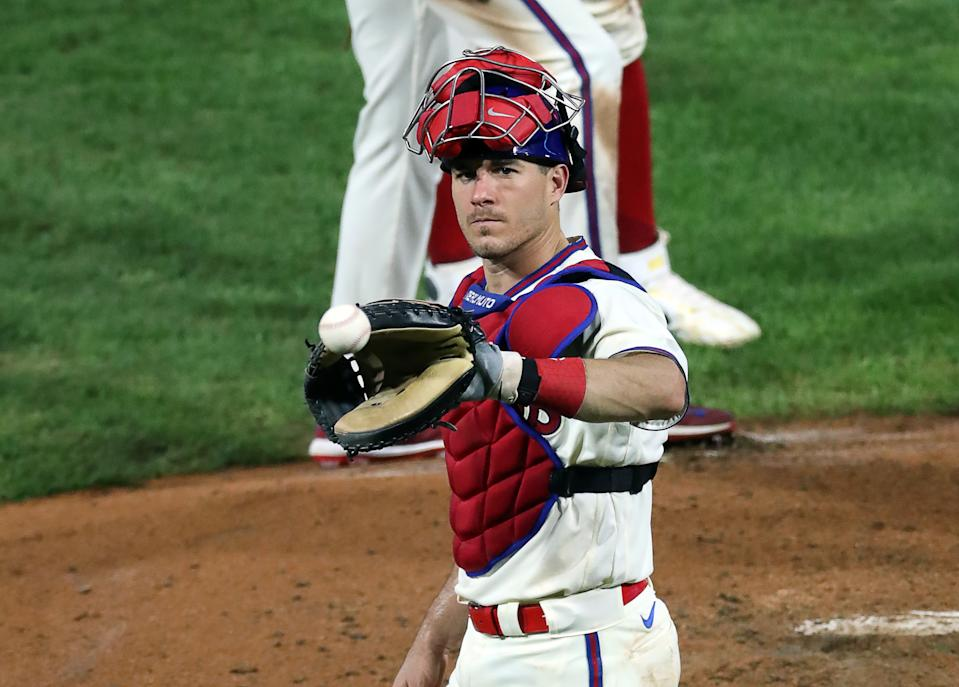 PHILADELPHIA, PA - SEPTEMBER 08: J.T. Realmuto #10 of the Philadelphia Phillies during a game against the Boston Red Sox at Citizens Bank Park on September 8, 2020 in Philadelphia, Pennsylvania. The Red Sox won 5-2. (Photo by Hunter Martin/Getty Images)
