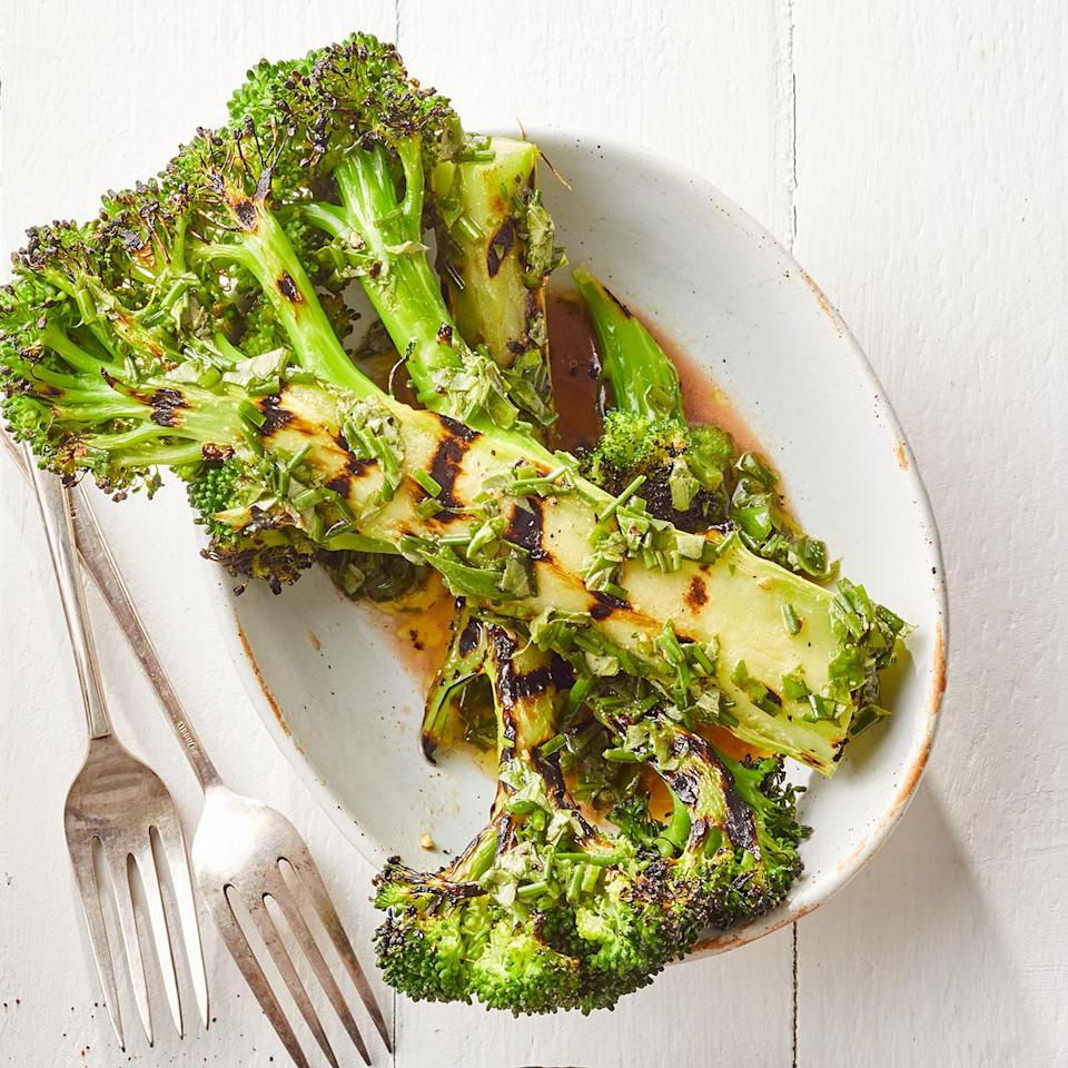 <p>Lightly charring the broccoli then finishing over indirect heat allows the stems to get tender without becoming too burnt.</p>