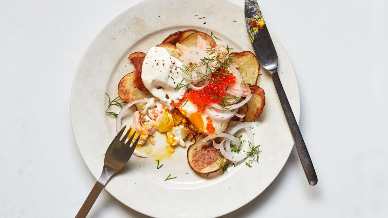 """<p>These shingled spuds are somewhere between french fries and potato chips (and heaven). To get them crisp and golden, they'll need a little TLC: Use a big bowl when you're tossing them with the oil and then really get in there with your hands to make sure every slice is well coated.</p> <p><strong>Get the recipe: <a href=""""https://www.bonappetit.com/recipe/sheet-pan-potato-hash-with-fixins?mbid=synd_yahoo_rss"""">Sheet-Pan Potato Hash with Fixins</a></strong></p> <a href=""""https://www.bonappetit.com/recipe/sheet-pan-potato-hash-with-fixins?mbid=synd_yahoo_rss"""">See recipe.</a>"""