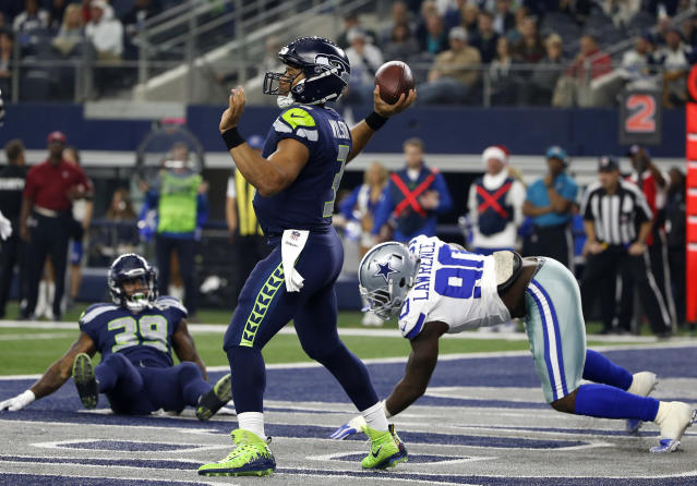 The Seattle Seahawks stayed in the playoff hunt in the NFC with a road victory against Dallas, a win that eliminated the Cowboys. (AP)