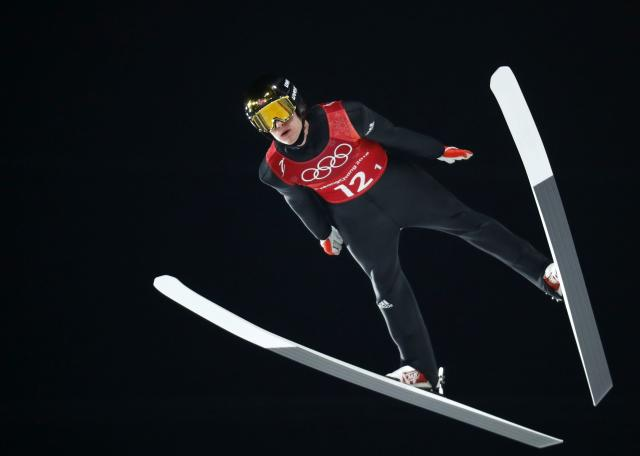 Ski Jumping - Pyeongchang 2018 Winter Olympics - Men's Team Trial round - Alpensia Ski Jumping Centre - Pyeongchang, South Korea - February 19, 2018 - Daniel Andre Tande of Norway competes. REUTERS/Dominic Ebenbichler