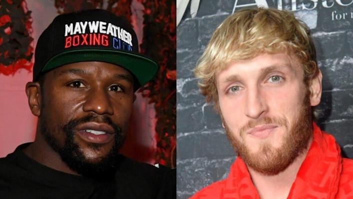 Boxer Floyd Mayweather Jr. (left) is set to fight former YouTube star Logan Paul (right) on June 6 at Miami's Hard Rock Stadium. (Photos by Ethan Miller/Getty Images and Jerod Harris/Getty Images for Ignite International Brands, Ltd.)