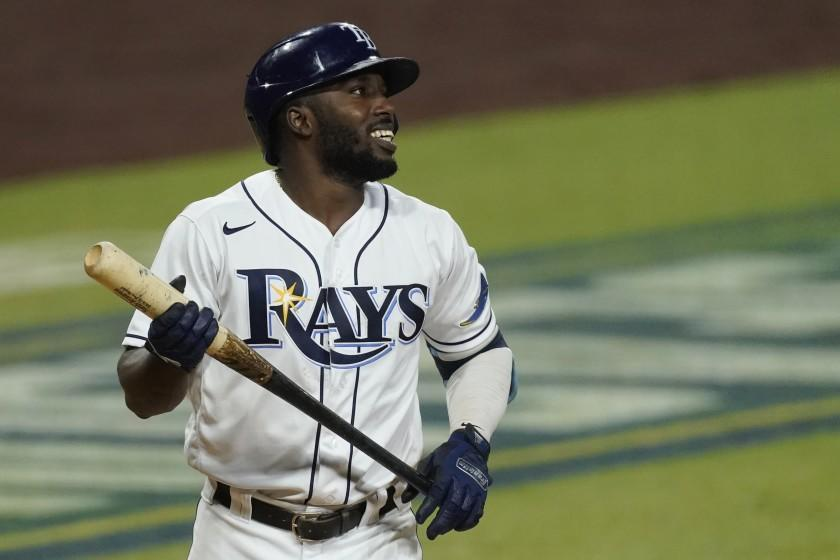 Tampa Bay Rays Randy Arozarena reacts after striking out during the fifth inning in Game 7 of a baseball American League Championship Series against the Houston Astros, Saturday, Oct. 17, 2020, in San Diego. (AP Photo/Ashley Landis)