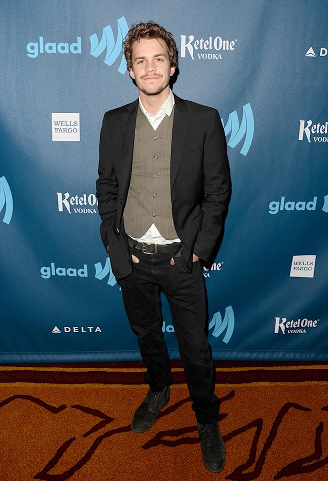 LOS ANGELES, CA - APRIL 20:  Actor Johnny Simmons arrives at the 24th Annual GLAAD Media Awards presented by Ketel One and Wells Fargo at JW Marriott Los Angeles at L.A. LIVE on April 20, 2013 in Los Angeles, California.  (Photo by Jason Merritt/Getty Images for GLAAD)