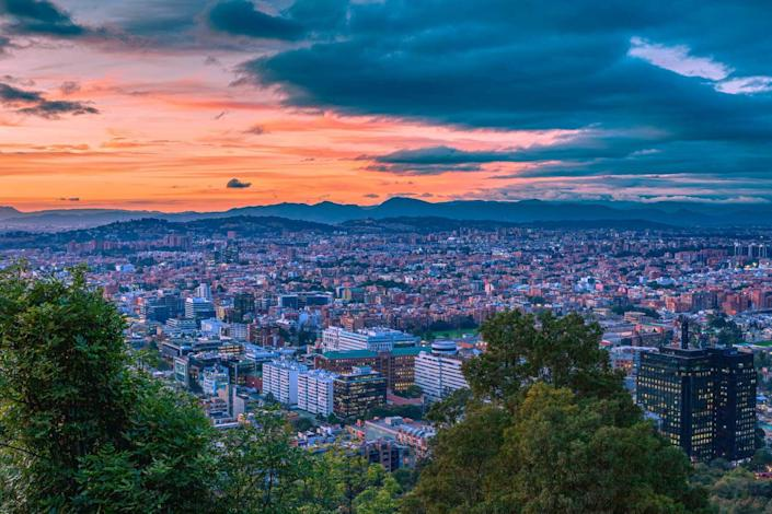 Bogota Colombia - An Andean Sunset over the Northern part of the Capital city and Usaquen in Bogota, Colombia, South America