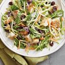 <p>Packaged broccoli slaw shortcuts the prep for this honey-mustard chicken salad. Dried cherries add a pop of color and tart-sweetness.</p>