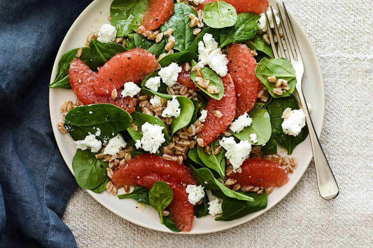 "<p>This is NOT a sad desk salad. The goat cheese and grapefruit add some tang, while farro gives extra texture.</p><p>Get this recipe when you sign up for a 7-day <a rel=""nofollow"" href=""https://www.self-starter.com/Join/Partner?mbid=synd_yahoofood&pid=3111&rnum=36"">free trial of SELFstarter</a>, a new site from the editors of SELF. You'll also get weekly meal plans, shopping discounts, and our best healthy cooking tips. <a rel=""nofollow"" href=""https://www.self-starter.com/Join/Partner?mbid=synd_yahoofood&pid=3111&rnum=36"">Join now!</a></p><p><b>Per one serving:</b> <em>513 calories, 20 grams protein</em></p>"
