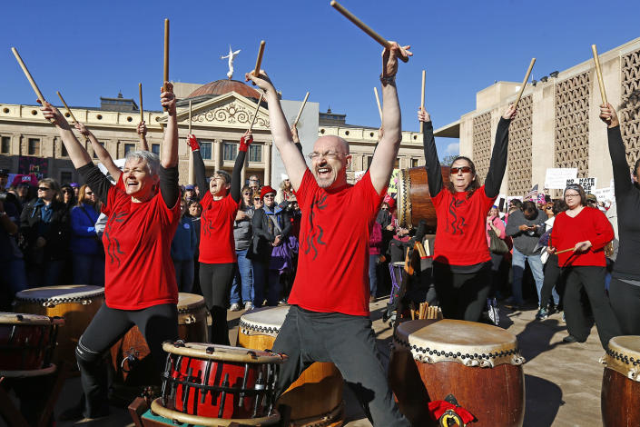 <p>Members of the Fushicho Daiko Phoenix Taiko Drummers join demonstrators in support of the Women's March on Washington at the Arizona Capitol Saturday, Jan. 21, 2017, in Phoenix. (AP Photo/Ross D. Franklin) </p>