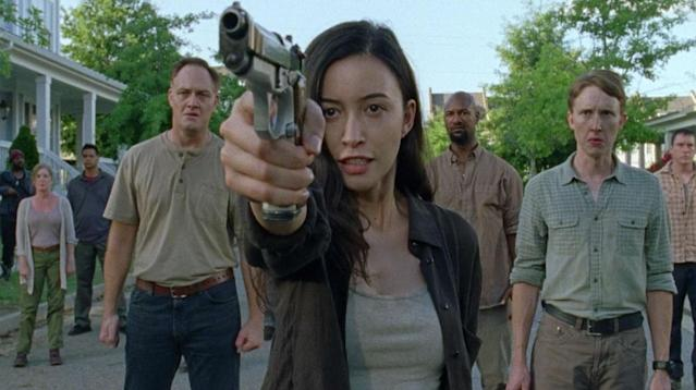<p>Of course she was angry about Spencer's brutal death, but Rosita's emotional reaction messed with her usual good aim, and when she took a shot at Negan, she hit only Lucille. Negan not only ordered his minion, Arat, to kill an innocent person in retaliation for Rosita's botched retaliation — RIP, Olivia — but took Eugene hostage after learning that the mulleted one had DIY-ed the bullet Rosita used to try to kill Negan.<br><br>(Photo: AMC) </p>