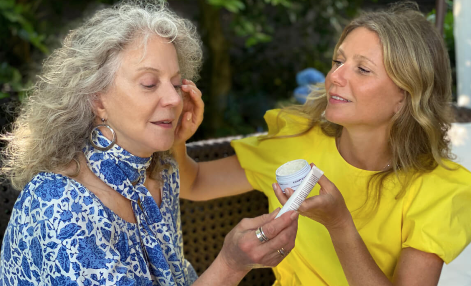 Gwyneth Paltrow and mother Blythe Danner testing out the GoopGenes line in a video featured on Goop's website (Goop)