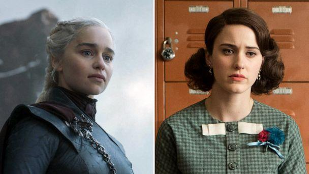 PHOTO: Emilia Clarke in a scene from 'Game of Thrones' and Rachel Brosnahan in a scene from 'The Marvelous Mrs. Maisel.' (HBO|Amazon Studios)