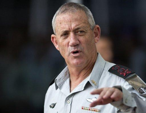 Israel's military chief Benny Gantz, pictured here in Tel Aviv on October 16, 2012