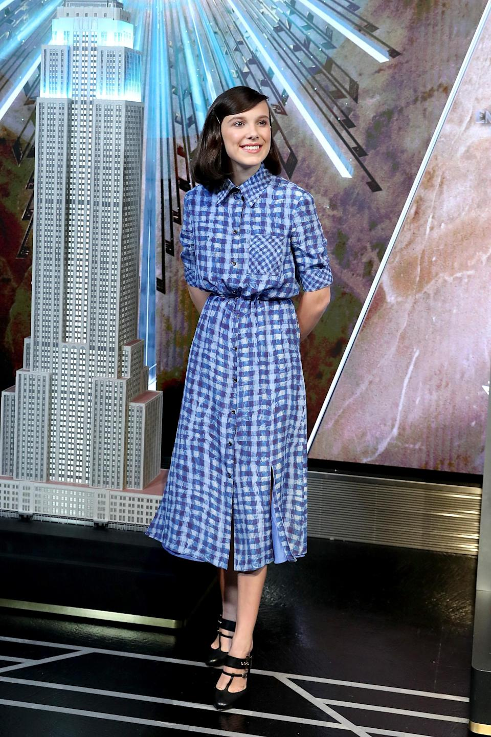 <p>The 'Stranger Things' star wore Altuzarra's gingham 'Vittoria' dress while lighting up the Empire State Building in honour of UNICEF in NYC. <em>[Photo: Getty]</em> </p>