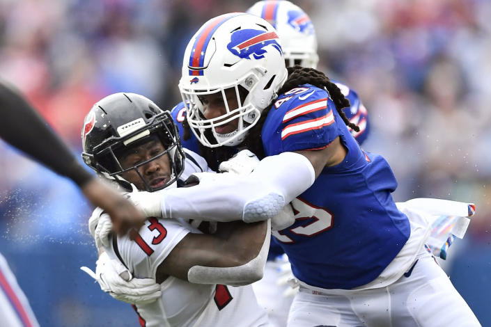 Buffalo Bills middle linebacker Tremaine Edmunds (49) tackles Houston Texans wide receiver Brandin Cooks (13) after a catch during the first half of an NFL football game, Sunday, Oct. 3, 2021, in Orchard Park, N.Y. (AP Photo/Adrian Kraus)