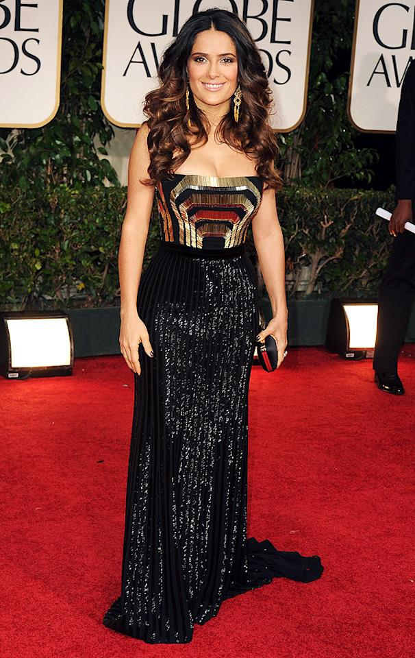 """<span style=""""font-weight:bold;"""">Salma Hayek</span><br>  <strong>Grade: C-<br></strong>  <p class=""""MsoNormal""""><span>Salma Hayek usually rocks the red carpet thanks to her phenomenal curves, but unfortunately even they couldn't save this pleated, black-and-gold Gucci gown. </span></p>"""