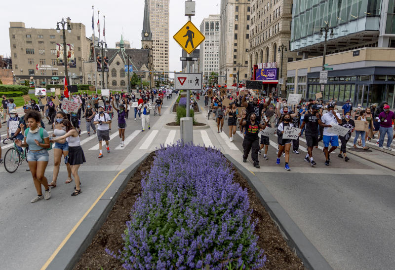 Protesters march in Detroit on June 4, 2020. (Sylvia Jarrus / for NBC News)