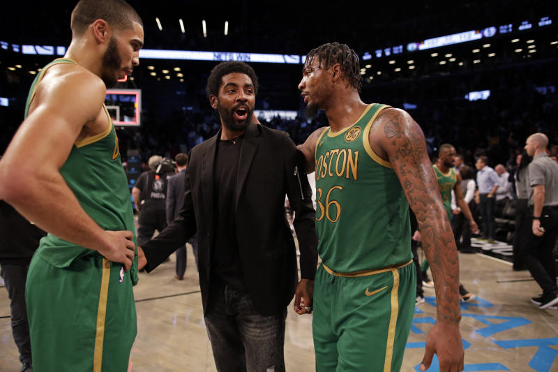 Kyrie Irving hasn't been a member of the Celtics for months. (AP Photo/Adam Hunger)