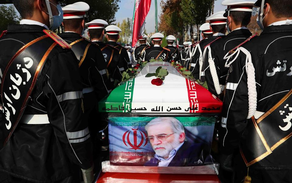 Iranian nuclear scientist Mohsen Fakhrizadeh was given a martyr's funeral yesterday - EPA-EFE/Shutterstock