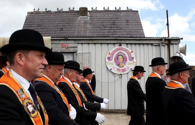 FILE PHOTO: Members of the Orange Order hold their annual protest outside Drumcree Church in Portadown