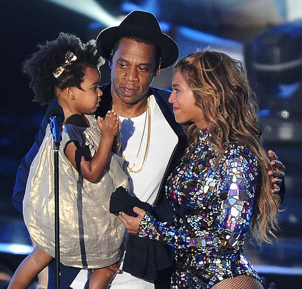 Bey and Jay with Blue Ivy at the MTV Video Music Awards in 2014. (Photo: Getty Images)