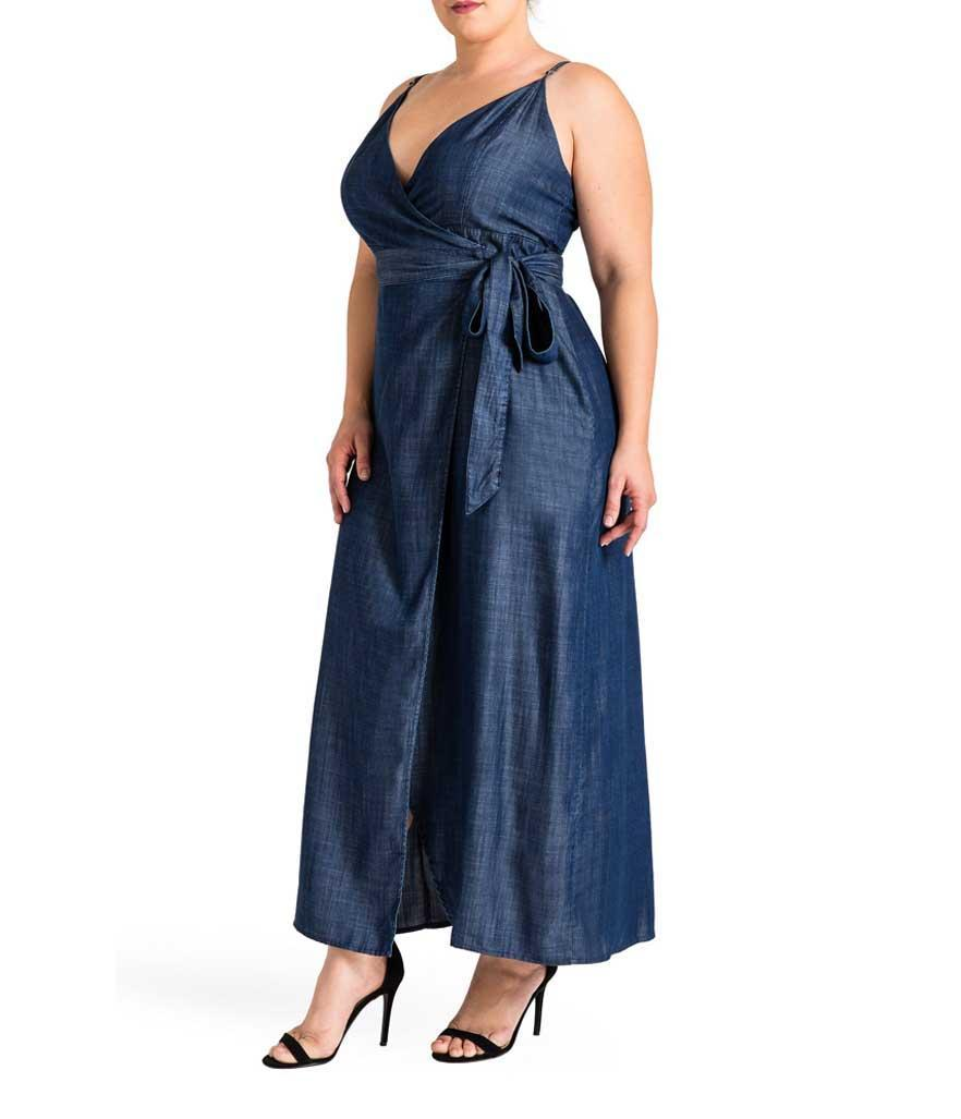 Plus-size denim wrap maxi dress. (Photo: Standards and Practices/Nordstrom)