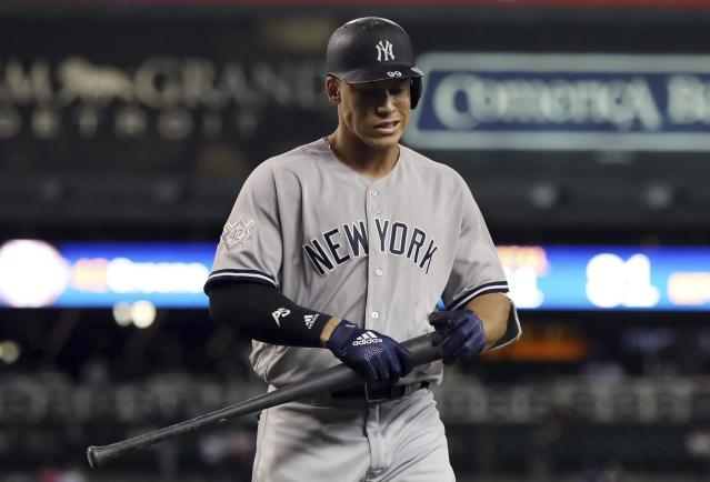 New York Yankees right fielder Aaron Judge struck out eight times on Monday in the Yankees' doubleheader against the Detroit Tigers, setting a new MLB record. (AP Photo/Carlos Osorio)