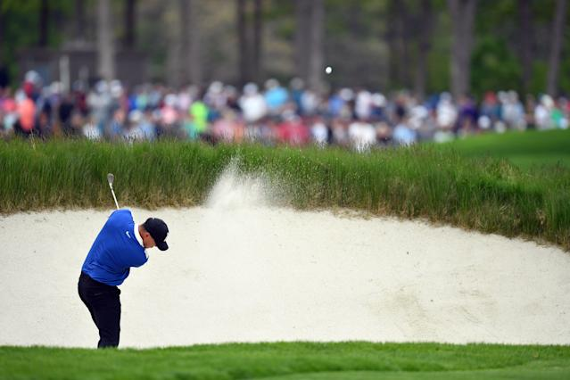 """<h1 class=""""title"""">Brooks Koepka 2019 PGA Championship - Final Round</h1> <div class=""""caption""""> Brooks Koepka plays a fairway-bunker shot at the 11th hole during the final round of the 2019 PGA Championship. </div> <cite class=""""credit"""">(Photo by Stuart Franklin/Getty Images)</cite>"""
