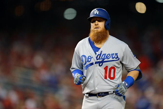 "<a class=""link rapid-noclick-resp"" href=""/mlb/players/8588/"" data-ylk=""slk:Justin Turner"">Justin Turner</a> and other <a class=""link rapid-noclick-resp"" href=""/mlb/teams/la-dodgers/"" data-ylk=""slk:Dodgers"">Dodgers</a> players responded publicly to the Astros cheating scandal for the very first time. (Photo by Alex Trautwig/MLB Photos via Getty Images)"