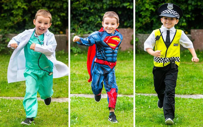 Ollie Hall has run the equivalent of a marathon dressed as super-heroes. (SWNS)
