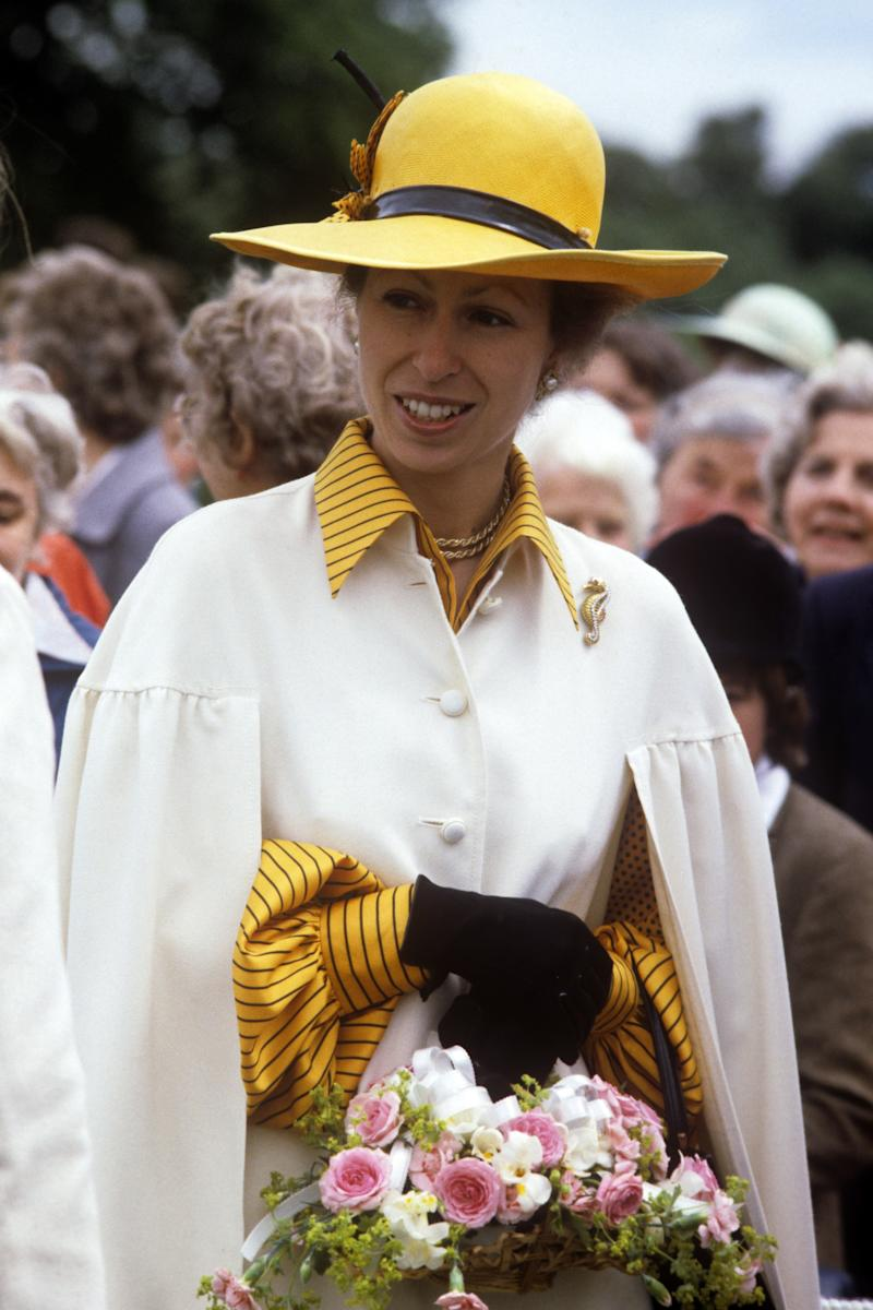 Princess Anne on a visit to the Ackworth Group of the Riding for the Disabled Association, June 1983.