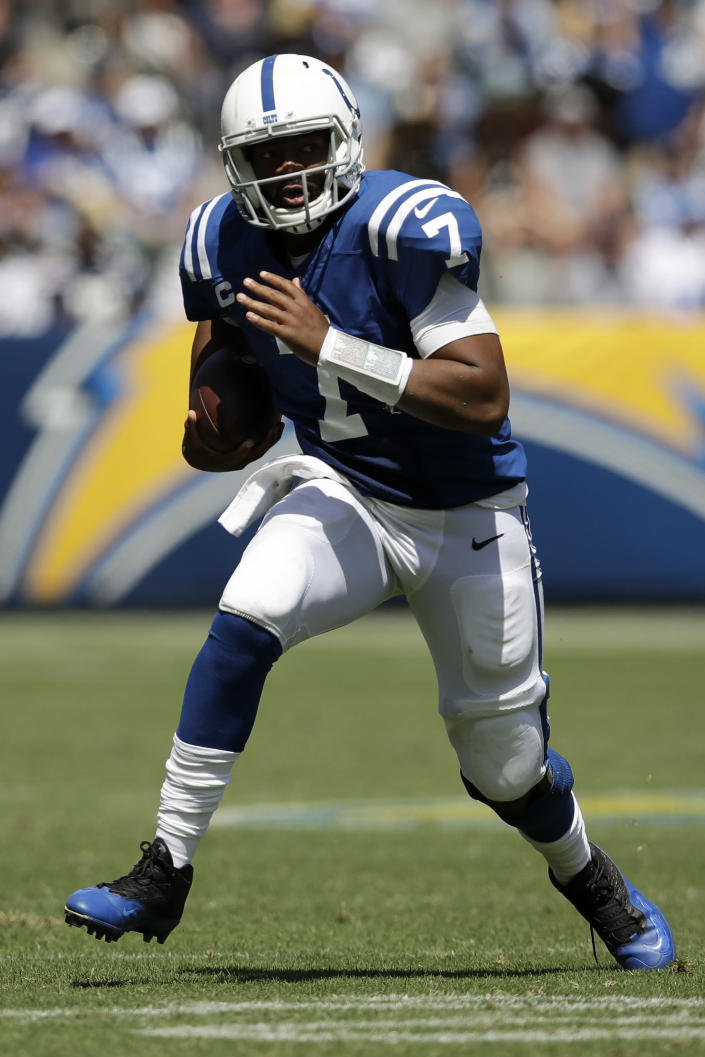 Indianapolis Colts quarterback Jacoby Brissett runs the ball against the Los Angeles Chargers during the first half in an NFL football game Sunday, Sept. 8, 2019, in Carson, Calif. (AP Photo/Marcio Jose Sanchez)