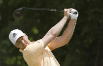 Daniel Berger plays his shot from the sixth tee during the first round of the Charles Schwab Challenge golf tournament at the Colonial Country Club in Fort Worth, Texas, Thursday, May 27, 2021. (AP Photo/Ron Jenkins)