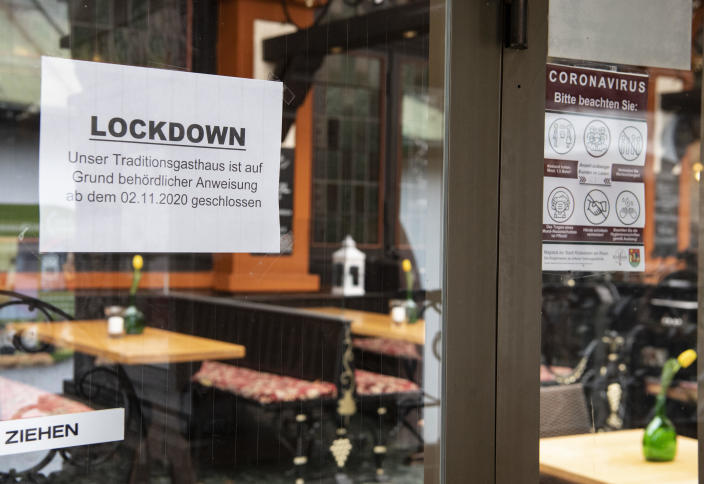 Signs indicate closure due to coronavirus restrictions in Hesse, Germany, January 20, 2021. / Credit: Boris Roessler/picture alliance/Getty