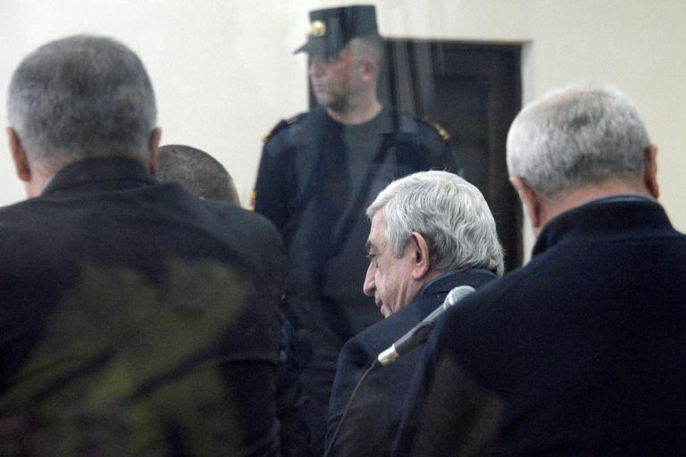 Former Armenian president Serzh Sarkisian, charged with corruption, attends a court hearing in Yerevan. The 65-year-old former military officer was charged in December with organising an embezzlement scheme that allegedly helped enrich officials
