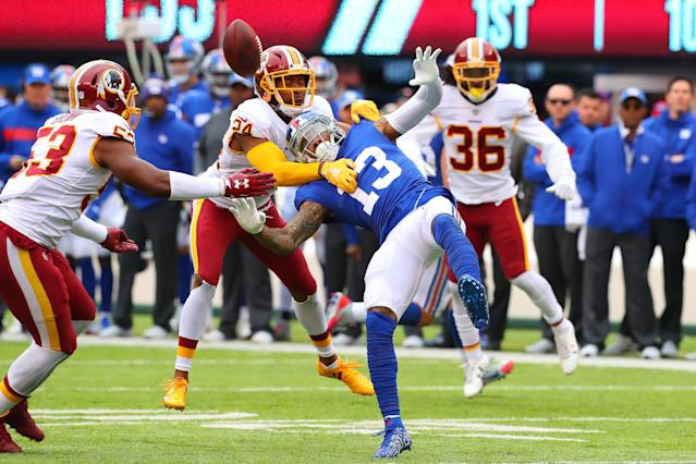 Odell Beckham delivered in the stat sheet on Sunday against Washington, catching eight passes for 136 yards. Still, the Giants fell to 1-7 this season. (Getty Images)
