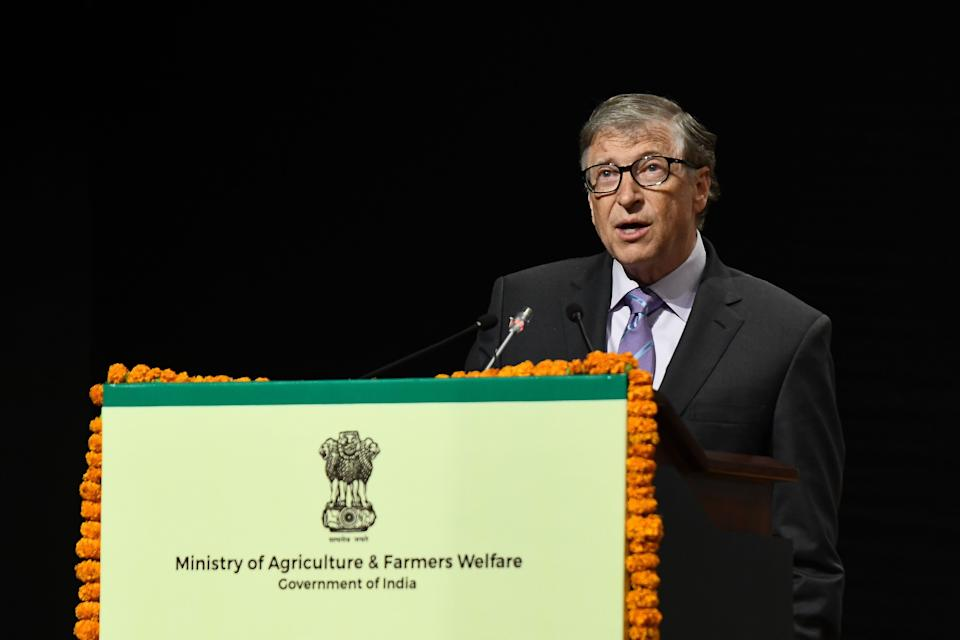 Co-chair and Trustee of the Bill and Melinda Gates Foundation, Bill Gates, speaks to the gathering during the inauguration of the 8th International Conference on Agriculture Statistics in New Delhi, India on 18 November 2019. (Photo by Indraneel Chowdhury/NurPhoto via Getty Images) (Photo: NurPhoto via NurPhoto via Getty Images)