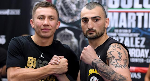 Gennady Golovkin and Vanes Martirosyan pose during a media workout at the Glendale Fighting Club on April 23, 2018, in Glendale, California. (Getty Images)