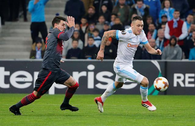 Soccer Football - Europa League Round of 32 First Leg - Olympique de Marseille vs S.C. Braga - Orange Velodrome, Marseille, France - February 15, 2018 Marseille's Lucas Ocampos in action with Sporting Braga's Lazar Rosic REUTERS/Jean-Paul Pelissier