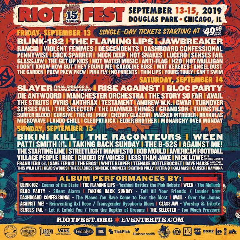 Riot Fest 2019 Daily Lineup poster admat giveaway win vip tickets