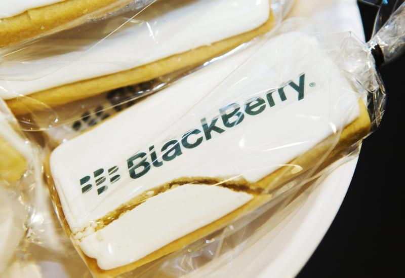 A view shows a cracked cookie with a Blackberry logo at the Blackberry Z10 launch in Toronto