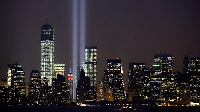 In this Sept. 11, 2013, file photo, the twin beams of the annual Tribute in Light commemorating the Sept. 11, 2001, terrorist attacks shine amid the city's skyline, in New York.