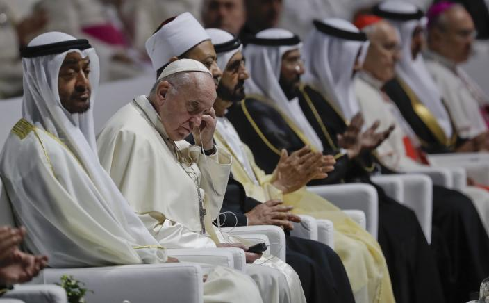 Pope Francis attends an Interreligious meeting at the Founder's Memorial in Abu Dhabi, United Arab Emirates, Monday, Feb. 4, 2019. Pope Francis arrived in Abu Dhabi on Sunday. His visit represents the first papal trip ever to the Arabian Peninsula, the birthplace of Islam. (AP Photo/Andrew Medichini)
