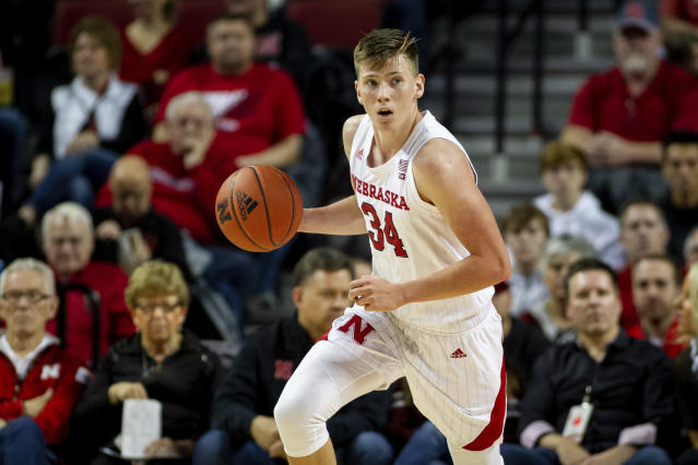 FILE - In this Dec. 15, 2019, file photo, Nebraska guard Thorir Thorbjarnarson (34), of Iceland, dribbles the ball against Purdue during the first half of an NCAA college basketball game in Lincoln, Neb. Thorbjarnarson is one of the cornerstones of Fred Hoiberg's building project at Nebraska. Iceland is no basketball hotbed, but college coaches will go most anywhere to mine talent. (AP Photo/John Peterson, File)